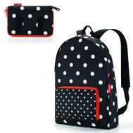 Складной рюкзак Reisenthel Mini maxi, чёрный в белый горох, 29.3х47х15см - арт.AP7051, фото 1