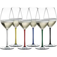 Набор фужеров для шампанского Champagne Wine Glass Riedel Fatto a Mano 445мл, цветные ножки - 6шт - арт.7900/28, фото 1