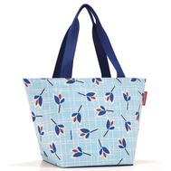 Сумка-шоппер Reisenthel Shopper M, голубая с листьями, 51x30.5x26см - арт.ZS4064, фото 1