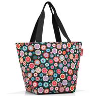 Сумка-шоппер Reisenthel Shopper M, чёрная в цветочек, 51x30.5x26см - арт.ZS7048, фото 1