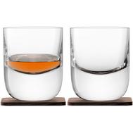 Стаканы для виски LSA International Renfrew Whisky, с деревянными подставками, 270мл - 2шт - арт.G1211-09-301, фото 1