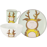 "Набор посуды для детей Anna Lafarg Emily ""Оленёнок"" - 3 предмета - арт.AL-W16Q65-E6, фото 1"
