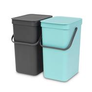 Встраиваемые мусорные ведра Brabantia Sort Go, мятное/серое, 2шт х 12л - арт.109980, фото 1