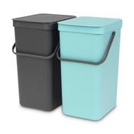 Встраиваемые мусорные ведра Brabantia Sort Go, мятное/серое, 2шт х 16л - арт.110023, фото 1