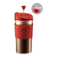 Кофейник с прессом Bodum Travel, дорожный, с дополнительной крышкой, красный, 0,35 л - арт.K11102-294, фото 1