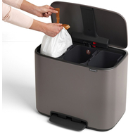 Контейнер для мусора с педалью Brabantia Bo Pedal Bin, платина, 3 х 11 л - арт.121067, фото 1