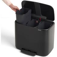 Контейнер для мусора с педалью Brabantia Bo Pedal Bin, черный, 3 х 11 л - арт.121104, фото 1