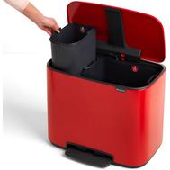 Ведро для мусора с педалью Brabantia Bo Pedal Bin, красное, 11 + 23 л - арт.121166, фото 1