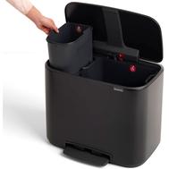 Ведро для мусора с педалью Brabantia Bo Pedal Bin, черное, 11 + 23 л - арт.121227, фото 1
