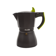 Кофеварка гейзерная Ibili L'Aroma, черная с зеленой ручкой, на 6 чашек - арт.621106, фото 1