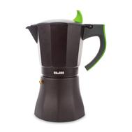 Кофеварка гейзерная Ibili L'Aroma, черная с зеленой ручкой, на 9 чашек - арт.621109, фото 1