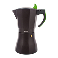 Кофеварка гейзерная Ibili L'Aroma, черная с зеленой ручкой, на 12 чашек - арт.621112, фото 1