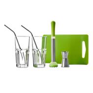 Набор для коктейля Ibili Clasica: 2 стакана, 2 трубочки, пресс для мохито, разделочная доска, джиггер - арт.798000, фото 1