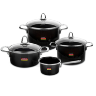 Набор посуды Kochstar Metallica Onyx Premium, эмалированная сталь, темно-серый - 4 предмета - арт.ONYX-2, фото 1