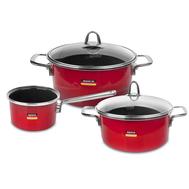 Набор посуды Kochstar Metallica Red Premium, эмалированная сталь, красный - 3 предмета - арт.RED-1, фото 1