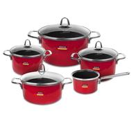 Набор посуды Kochstar Metallica Red Premium, эмалированная сталь, красный - 5 предметов - арт.RED-3, фото 1