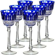 Бокалы винные Ajka Crystal St.Louis, 220мл - 6шт, синие - арт.15737/47127/40371, фото 1