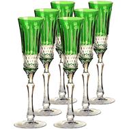 Набор бокалов для шампанского Ajka Crystal St.Louis, 120мл - 6шт, зеленые - арт.15908/47127/40371, фото 1