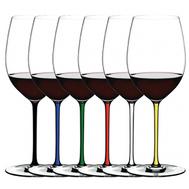 Набор бокалов для красного вина Cabernet/Merlot Riedel Fatto a Mano 625мл, цветные ножки - 6шт - арт.7900/0, фото 1