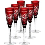Набор бокалов для шампанского Ajka Crystal Monica, 170мл - 6шт, бордовые - арт.88566/49252/46404, фото 1