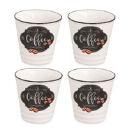 Кофейные чашки Easy Life R2S Кухня в стиле Ретро, белые с декором, 0,1 л, фарфор - 4 шт - арт.EL-R1602_KIBC, фото 1