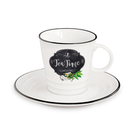 Чашка с блюдцем Easy Life R2S Кухня в стиле Ретро, белая с декором, 0,3 л, фарфор - 2 предмета - арт.EL-R1601_KIBT, фото 1