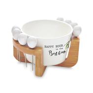 Чаша для оливок, шпажки Easy Life R2S Kitchen Elements, белая, фарфор - 10 предметов - арт.EL-R0850_KITE, фото 1
