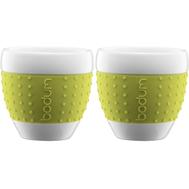 Чашки Bodum Pavina, с силиконовым ободком, зеленые, 0.25л - 2 шт - арт.11184-565, фото 1