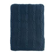 Хлопковый плед Tkano Essential, темно-синий, узор косы, 130х180см - арт.TK18-TH0005, фото 1
