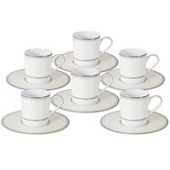 Кофейные пары Naomi Жемчуг, костяной фарфор, на 6 персон 12 предметов, 100мл - арт.NG-I150905B-C6-AL, фото 1