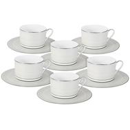 Набор чайных пар Naomi Жемчуг, костяной фарфор, на 6 персон 12 предметов, 0.25л - арт.NG-I150905B-T6-AL, фото 1
