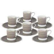Кофейные пары Naomi Мокко, костяной фарфор, на 6 персон 12 предметов, 100мл - арт.NG-I150905A-C6-AL, фото 1