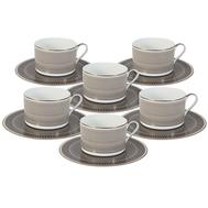 Набор чайных пар Naomi Мокко, костяной фарфор, на 6 персон 12 предметов, 0.25л - арт.NG-I150905A-T6-AL, фото 1