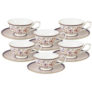 Набор чайных пар Anna Lafarg Emily Королева Анна, костяной фарфор, 6 персон 12 предметов - арт.AL-M1929_12-E9, фото 1