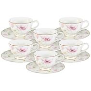 Набор чайных пар Anna Lafarg Emily Розовый танец, костяной фарфор, 6 персон 12 предметов - арт.AL-M1661_12-E9, фото 1