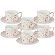 Набор чайных пар Anna Lafarg Emily Цветы, костяной фарфор, 6 персон 12 предметов - арт.AL-M2124_12-E9, фото 1