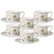 Набор чайных пар Anna Lafarg Primavera Флора, фарфор белый, 6 персон 12 предметов - арт.AL-1557W-ZSBD-12-P4, фото 1