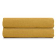 Простыня на резинке Tkano Essential, лён горчичного цвета, 120х200х28 см - арт.TK18-LS0007, фото 1