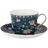 Чашка с блюдцем Anna Lafarg Primavera Флора, фарфор, синяя большая, 0.4л - арт.AL-1557DB-DJ-P4, фото 1