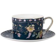 Чашка с блюдцем Anna Lafarg Primavera Флора, фарфор, синяя, 0.25л - арт.AL-1557DB-ZSBD-P4, фото 1