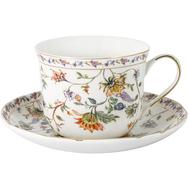 Чашка с блюдцем Anna Lafarg Primavera Флора, фарфор, белая большая, 0.4л - арт.AL-1557W-DJ-P4, фото 1