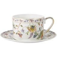 Чашка с блюдцем Anna Lafarg Primavera Флора, фарфор, белая, 0.25л - арт.AL-1557W-ZSBD-P4, фото 1