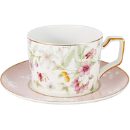 Чашка с блюдцем Anna Lafarg Emily Цветы, костяной фарфор, 0.22л - арт.AL-M2124_CS-E9, фото 1