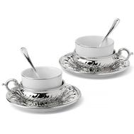 Чайные пары с ложкой Chinelli Stradivari, с отделкой под серебро, на 2 персоны - арт.GA2207700AL, фото 1