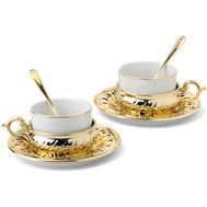 Чайные пары с ложкой Chinelli Stradivari, с отделкой под золото, на 2 персоны - арт.GA6207700AL, фото 1