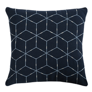 Подушка декоративная Tkano Ethnic, из хлопка темно-синего цвета с геометрическим орнаментом, 45х45 см - арт.TK19-CU0010, фото 1