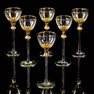 Набор рюмок Migliore DeLuxe Opera, хрусталь, декор золото 24К - 6шт - арт.25606, фото 1