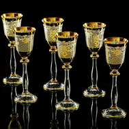 Набор рюмок Migliore DeLuxe Vittoria, хрусталь, декор золото 24К - 6шт - арт.25608, фото 1
