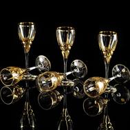 Набор рюмок Migliore DeLuxe Baron, хрусталь, декор золото 24К - 6шт - арт.25625, фото 1