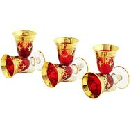Набор рюмок Migliore DeLuxe Dinastia Rosso, хрусталь красный, декор золото 24К - 6шт - арт.25632, фото 1